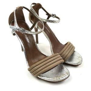 Donald J Pliner Tan Silver Snakeskin Strappy Heels